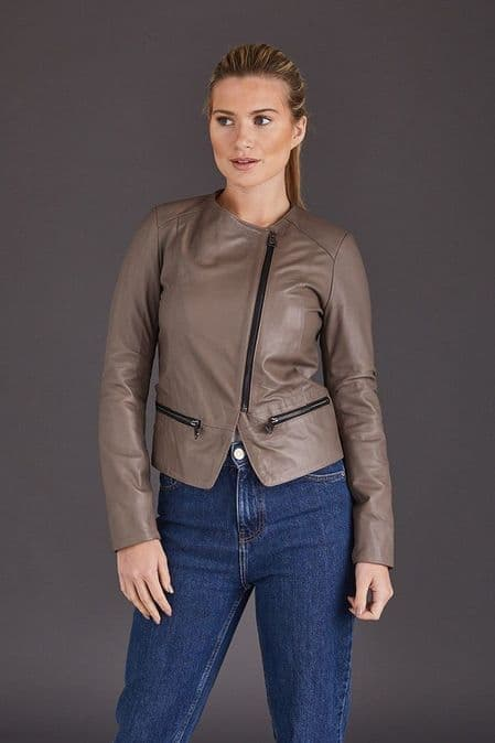 Brown Leather Jacket Womens :Chenel